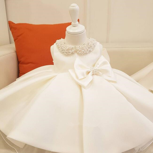 Elegant Beaded Lace Kids Princess Dress For Birthday Party Wedding Big Bow Tulle Ball Gown for