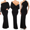 Happy Sailed 2017 Black Multiway Jersey Long Dress Party Vestidos Maxi New Sexy Women Special Occasions Clothing Gowns 60098