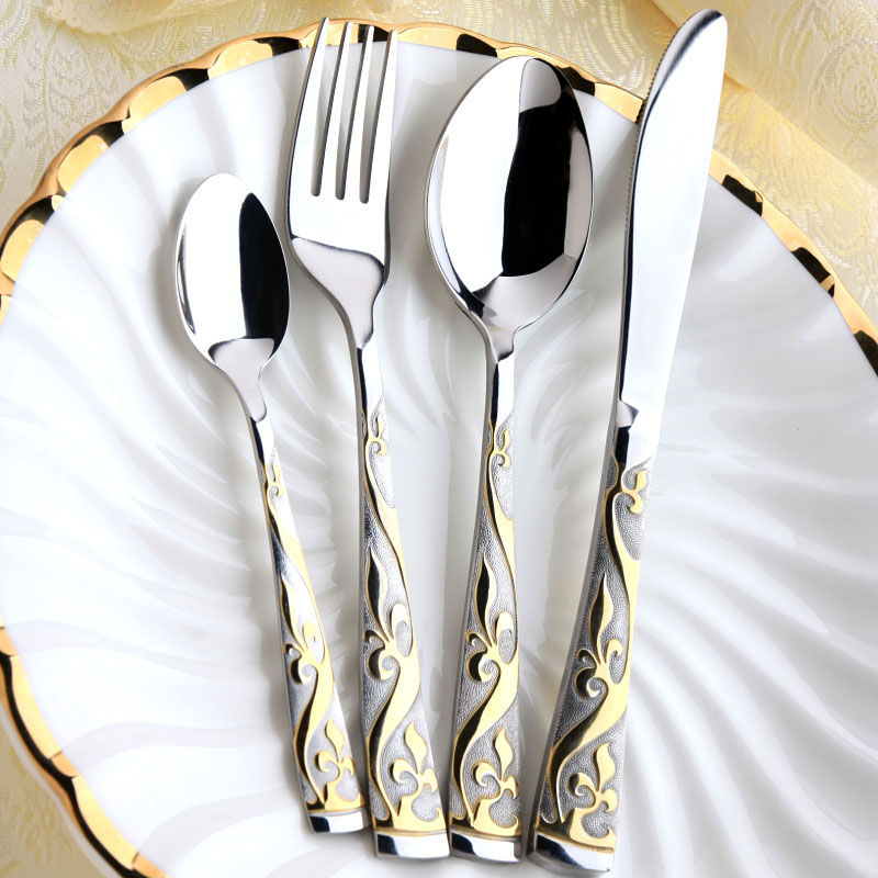 4/8/16/18 pcs Stainless steel Cutlery Dinner set Golen Plated Dinnerware & 4 pcs luxury 24k gold plated cutlery set Christmas dinnerware ...