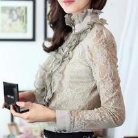 2018 Autumn Spring Women Lace shirt slim Plus size XXL Lace tops stand collar long sleeve Fashion Hollow Crochet lace Blouse