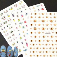 Newest CA-198 Cute Bee design 3d nail sticker template decals Japan type DIY decoration for art