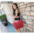 Hot 2016 Fashion Women Bag High Quality Pu Leather Handbag Vintage Hollow Shoulder Bag Solid Zipper Purse Large Capacity Tote