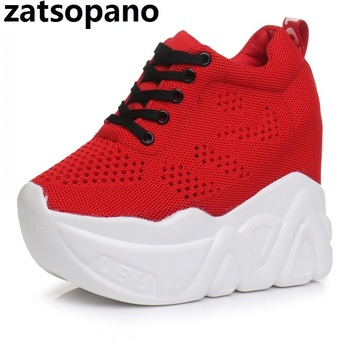 Zatsopano Women Shoes 2019 Summer Woman Platforms Shoes Women Red Shoes Lace-Up 12 cm High Heels Height Increasing Sneakers