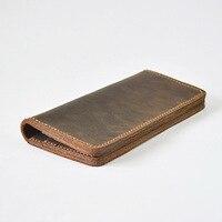 Long Genuine Leather Men Wallet Designer Male Purse Clutch Luxury Vintage Purse Money Wallet Card Holder Solid Portfolio Man