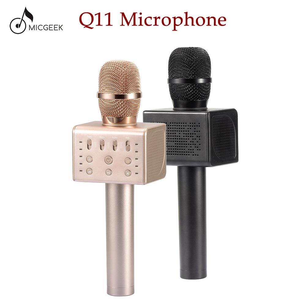 Original brand MicGeek Q11 Wireless Karaoke Microphone 2.1 Sound Track Dimensional Sound Voice Change 5 Speakers Smartphone