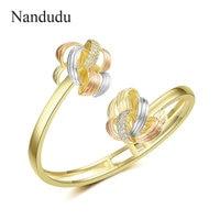 Nandudu New 3 Tones Gold Flower CZ Cuff Bangle for Women High Quality Brass AAA Cubic Zirconia Accessories Bracelet Gift B1127