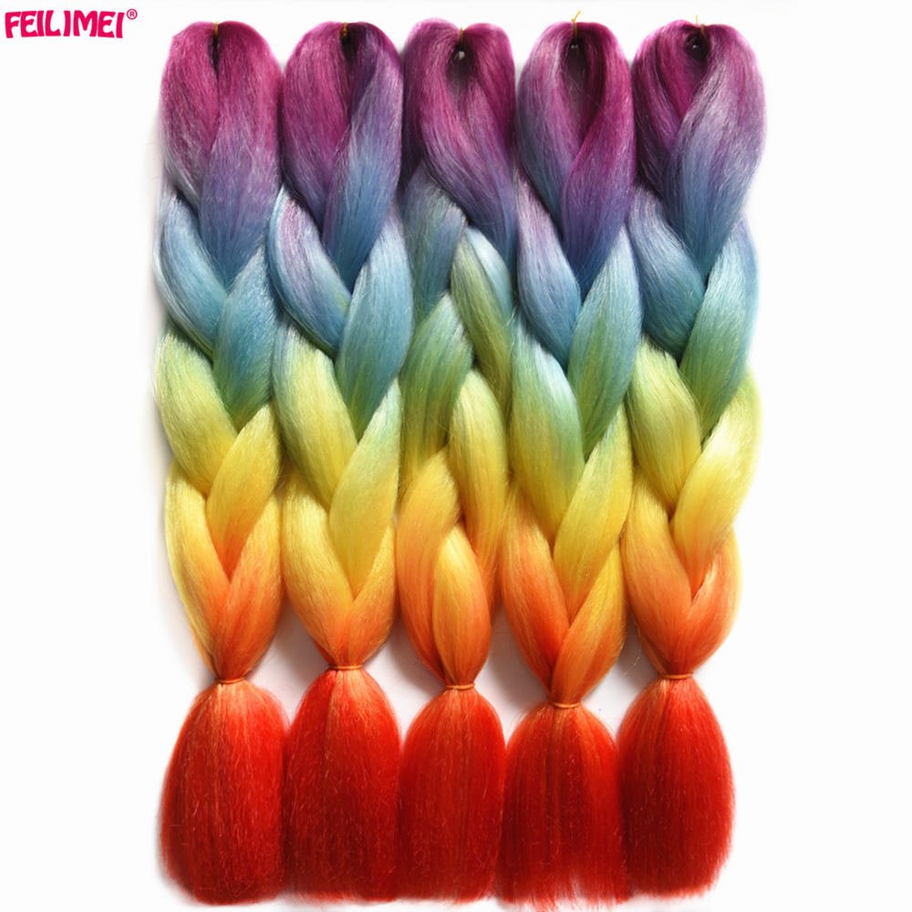 Jumbo Braids Inventive Feilimei Synthetic Purple Hair Extensions High Temperature Fiber Crochet Jumbo Braids Ombre Gray Pink Braiding Hair Bundles Relieving Heat And Thirst.