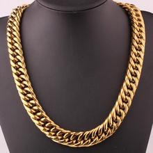 Granny Chic 18mm Mens Chain Heavy Huge 316L Stainless Steel Gold(Color) Cut Double Curb Link Rombo Necklace Or Bracelet