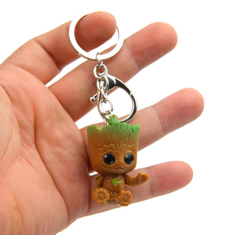 Cute Lovely Groot Keychain For Women Girls Fashion Silver Anime Key Chain Holder Girlfriend Gifts Jewelry
