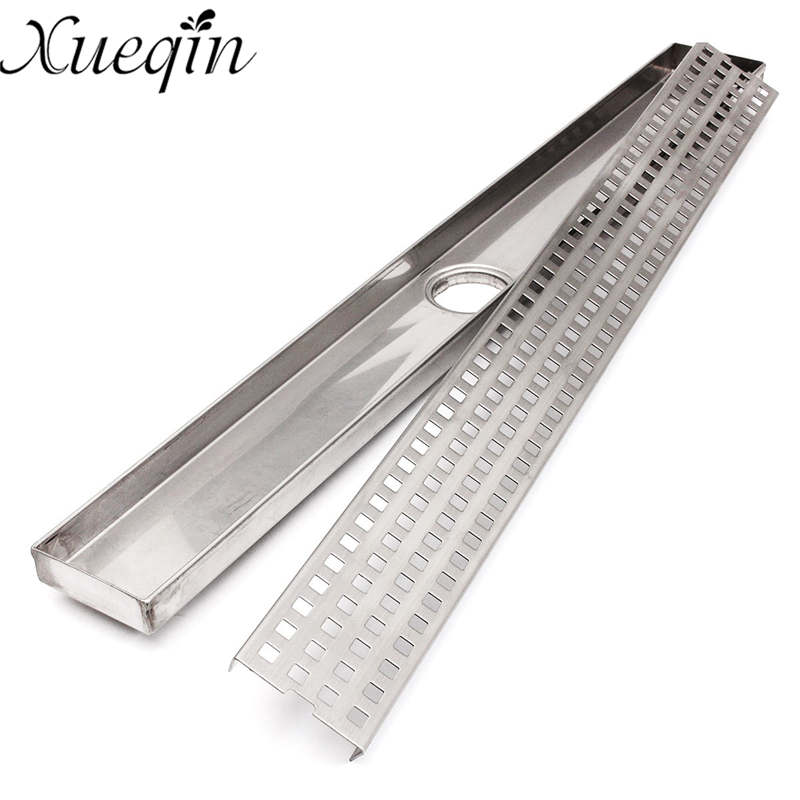 Xueqin Stainless Steel Bathroom Shower <font><b>Floor</b></font> Drain Grates Waste Linear Tile Insert Long Drainer <font><b>Floor</b></font> Drain 600mm/900mm
