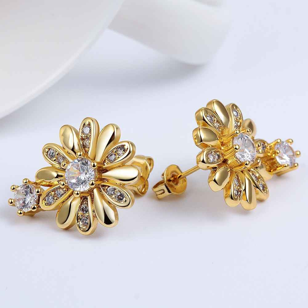 New Arrival!fRuby jewellry fashion Jewelry ethnic crystal flower stud earrings Gold color Zircon earings pendientes SKGE023