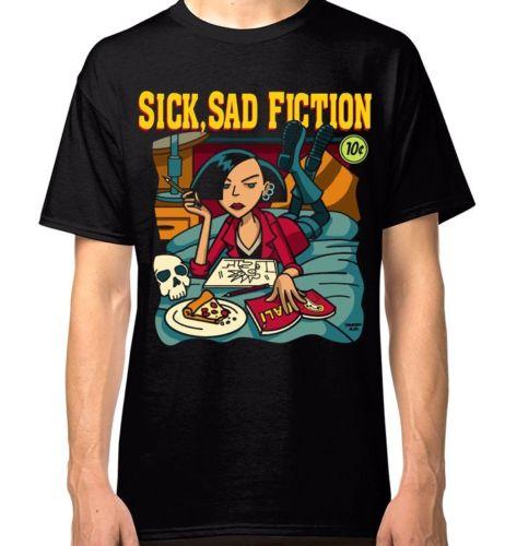 Daria Pulp Fiction T-shirt Sick Sad Fiction Mens Womens Black Tee