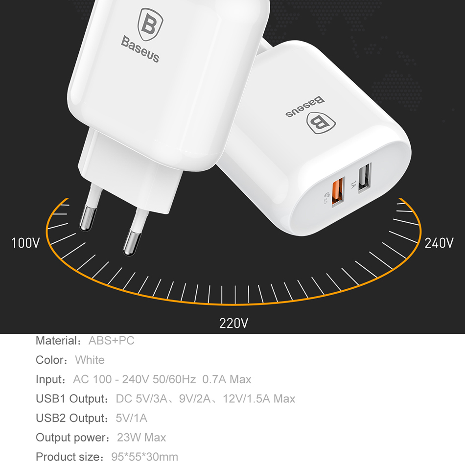 Baseus 18W Quick Charge QC 3.0 USB Charger for Samsung Xiaomi Phone Adapter EU Plug Travel Wall Charger for iPhone Charger 4
