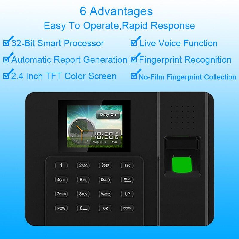 Биометрический отпечаток пальца система посещаемости времени часы рекордер сотрудник отпечатков пальцев TCPIP USB ридер посещаемость машины ...