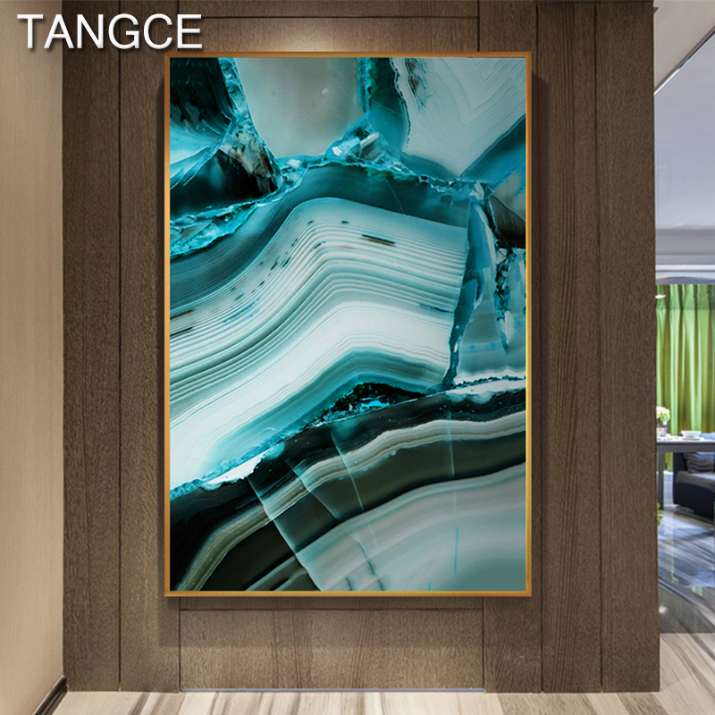 Abstract Green Jade HD Canvas Art Painting Poster and Print Wall Pictures for Living Room Tableau Salon Fashion Decoration Mural