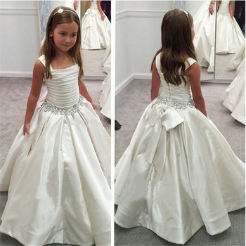 White Flower Girl Dresses For Wedding Party Embroidered Sleeveless Princess Girl Formal Dress First Communion Dress princess birthday costumes party flower girl dresses for wedding party elegant princess girl formal dress first communion dress