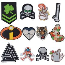 Crossbones Zipper Totoro CLOVER Africa Incredibles Patches for Clothing Patchwork Embroidered Appliques Garment Stickers Badge