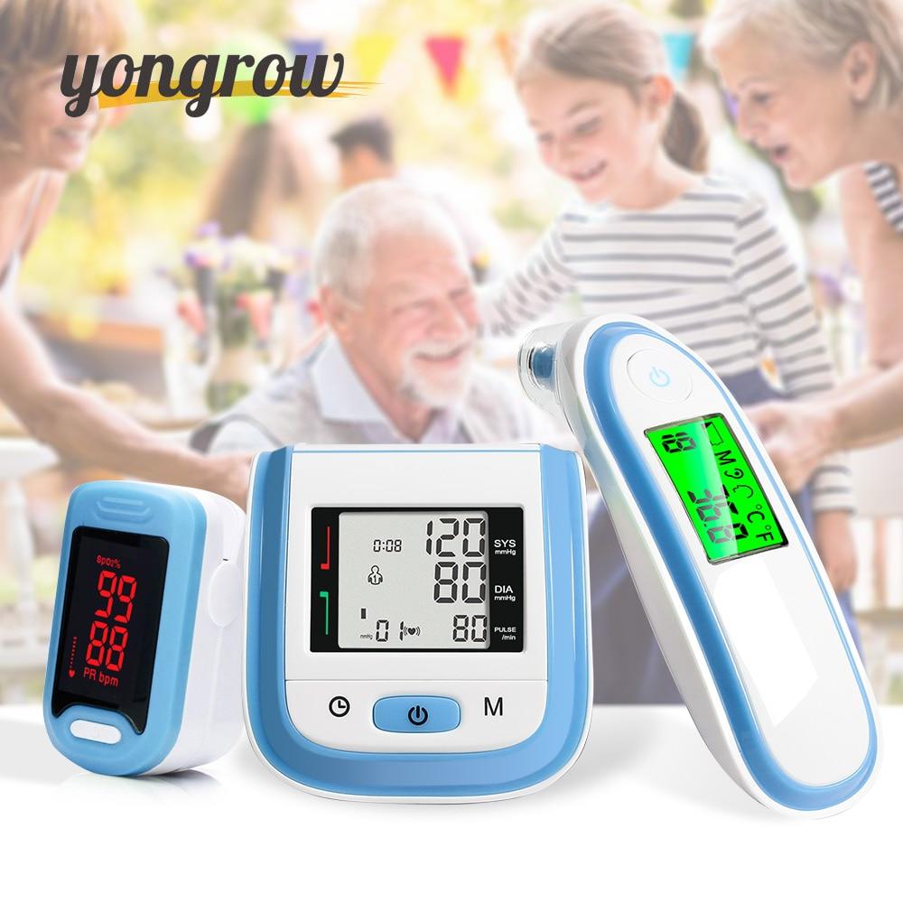 Yongrow светодиодный Пульсоксиметр и ЖК-дисплей кровяного Давление монитор и детские ухо инфракрасный термометр Семья здравоохранения подаро...