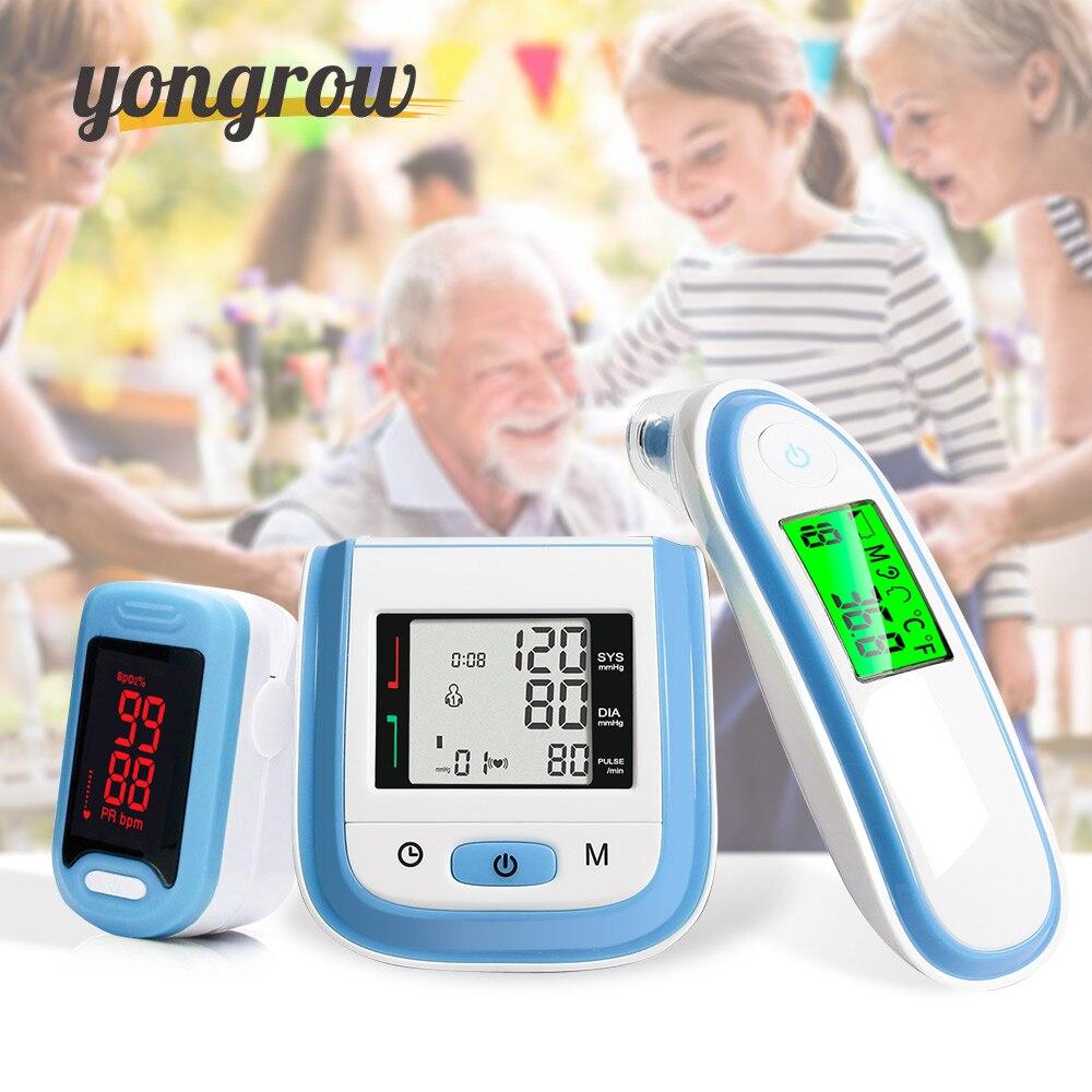 Yongrow LED Du Bout Des Doigts Oxymètre de Pouls et LCD Poignet Moniteur de Tension Artérielle Bébé Oreille Infrarouge Thermomètre Famille Cadeau de Soins de Santé