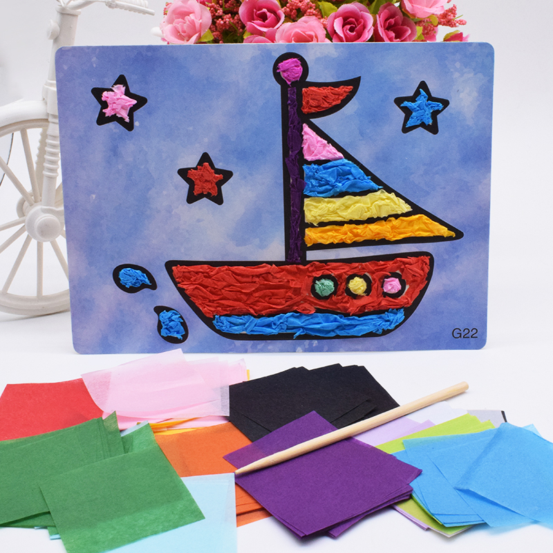 Handicraft Kids Crafts Toys For Children Felt Paper Diy Blue Boat Material Kindergarten Handwork Arts And Craft Girl Boy Gift
