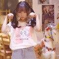 Negro 2016 del verano japonés harajuku sailor moon cat algodón de moda t-shirt mujeres corto-manga de impresión kawaii lindo tops del o-cuello