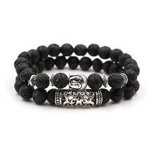 Pulseira de yoga de pedra natural para homens energia vulcânica pedra tigre olho grânulos pulseira de meditação de buda budista