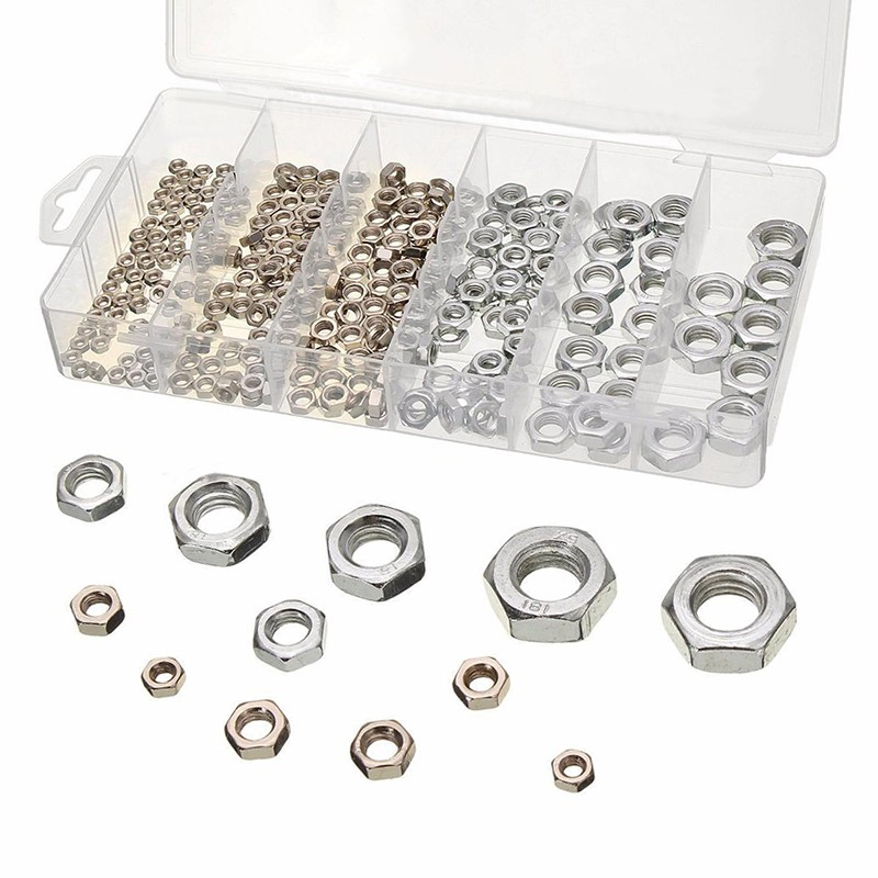 300pcs/lot Stainless Steel Hex Nuts Assortment Metric Nut Kit with Box M3 M4 M5 M6 M8 M10 For Hardware Accessories статуэтка напольная ангел 41 х 19 х 72 см