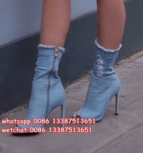 Classic Jeans Fashion Peep Toe Stiletto Ankle Boots Vogue Party Dress Woman Pumps Spring Autumn Lady Denim High Heels Boots