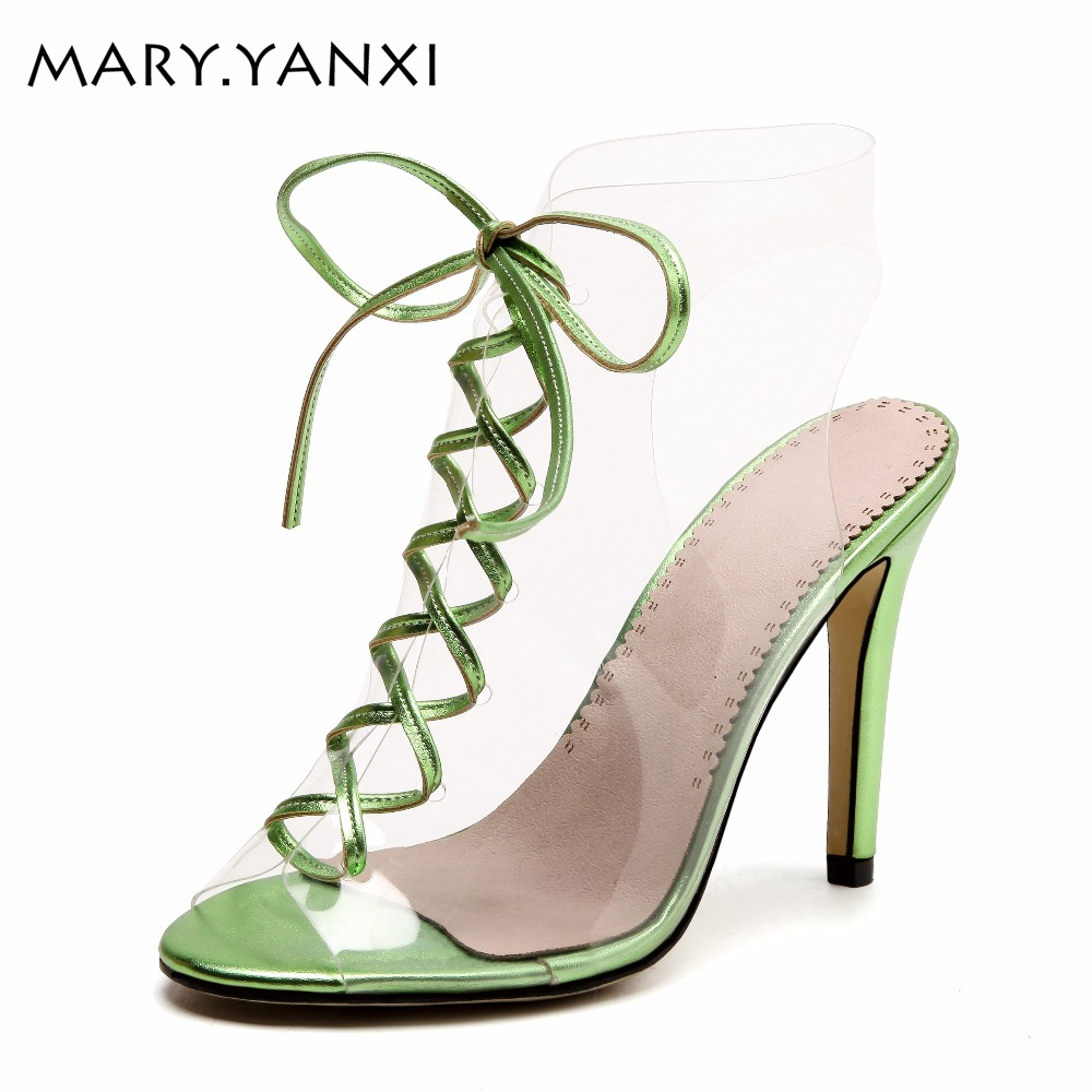 Mary.Yanxi New Fashion High Heels Women Sandals Peep Toe Sexy Party Ladies Shoes Transparent Lace Up Summer Sandals Big Size 43 weiqiaona new big size 33 43 fashion women shoes sexy lace ladies sandals mesh stiletto peep toe hollow high heel shoes woman