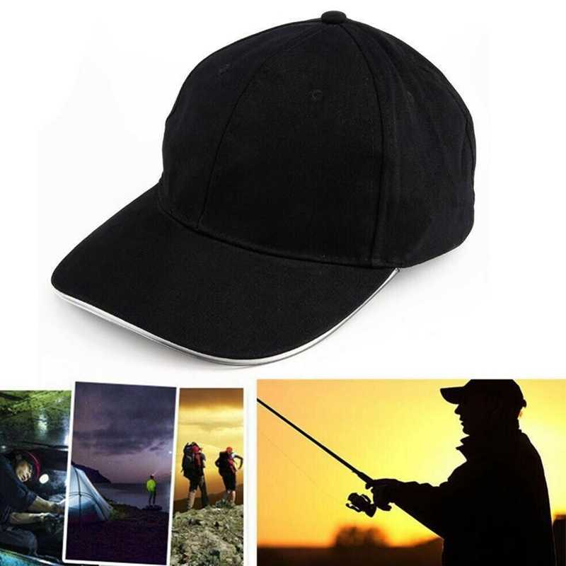 LED Baseball Cap Battery Operated Light Up Cotton Peaked Hat Headwear Outdoor Sports Wear With Adjustable Back Closure