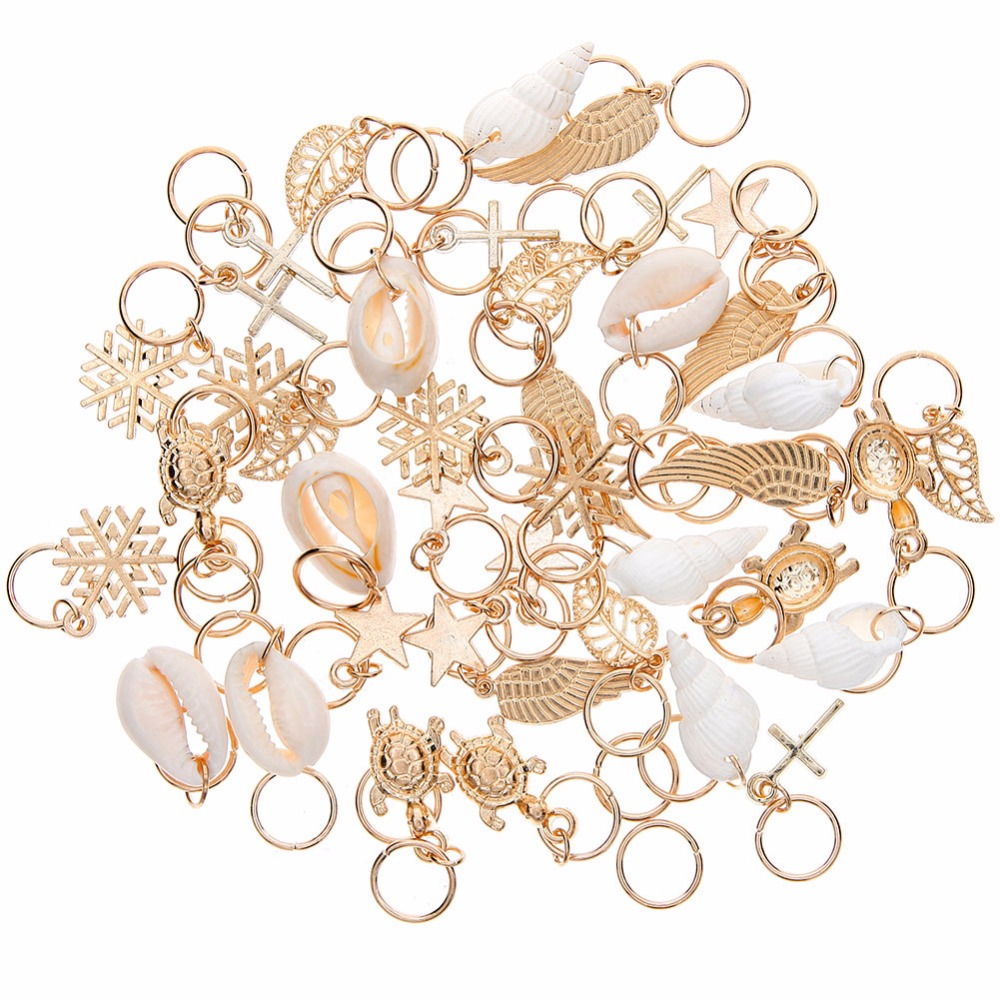 50 Pcs/set Fashion Shell Hands Leaves Star Conch Snowflake Pendant Charms Rings Set Hair Clip For Women #244449(China)