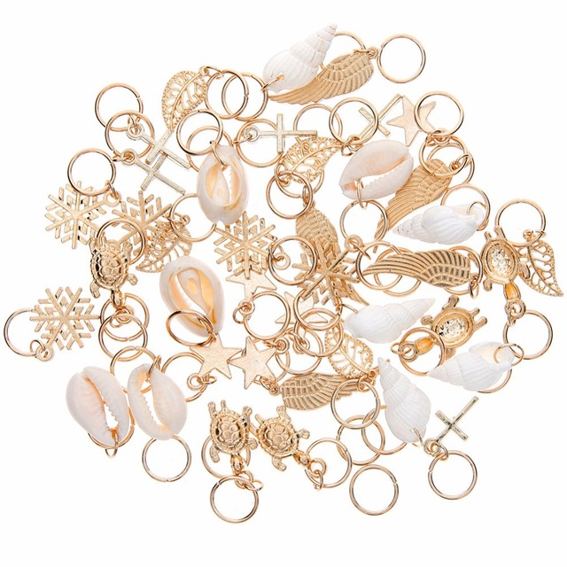 50 Pcs/set Fashion Shell Hands Leaves Star Conch Snowflake Pendant Charms Rings Set Hair Clip For Women #244449