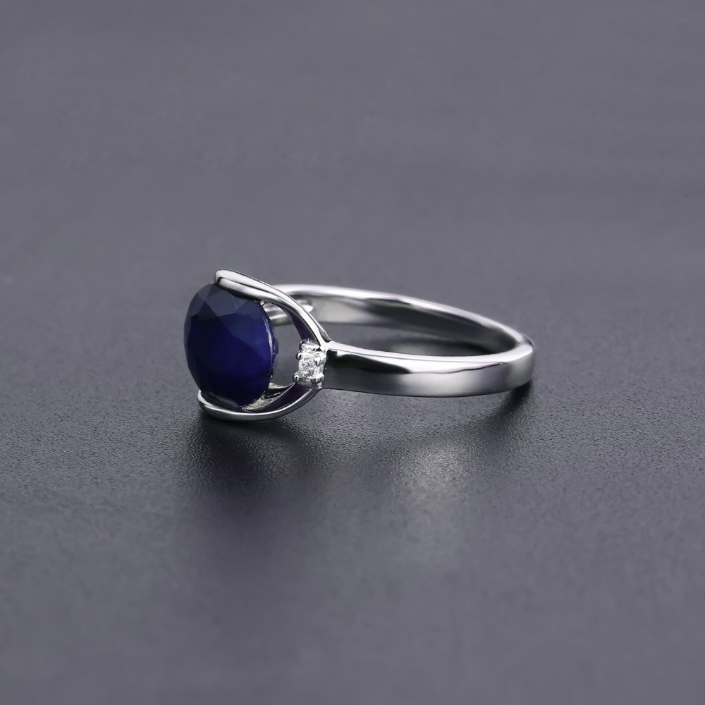 Image 3 - GEMS BALLET New 3.24Ct Natural Blue Sapphire Rings Real 925  Sterling Silver Classic Oval Ring For Women Anniversary Fine GiftRings
