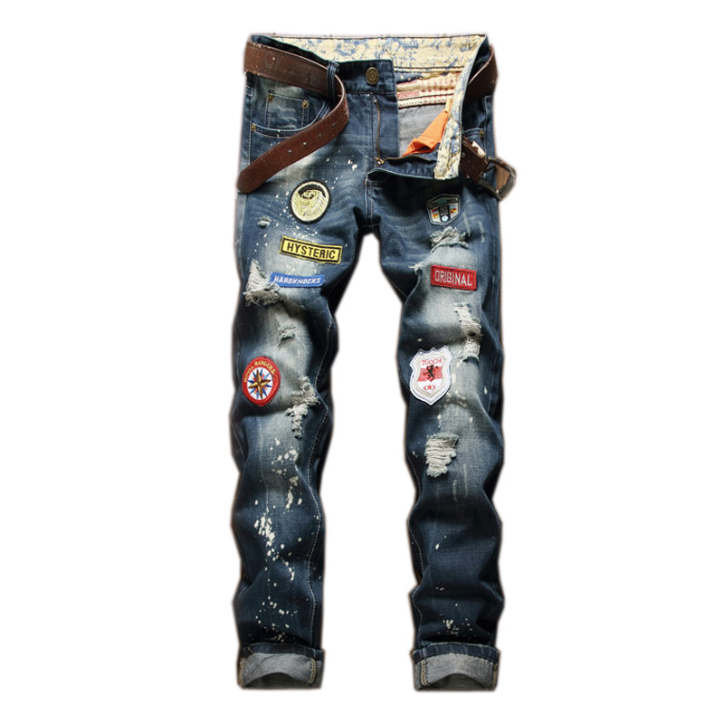 28-38 size straight jeans Patch jeans men Ripped Jean Pants Adult Long Blue Trousers Male Vintage denim Jeans free belt серебряное кольцо ювелирное изделие 70772