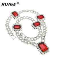 Gold Plated Link Chain Necklace Red Ruby Hip Hop Necklace Fashion Unisex Miami Cuban Curb Link