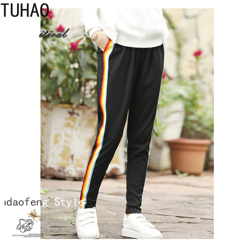 TUHAO2018 fall autumn sweatpants Plus Size 5XL 4XL Women Trousers Elegant Striped Harem   Pants   Elastic Waist Ladies   Capris   MKFS