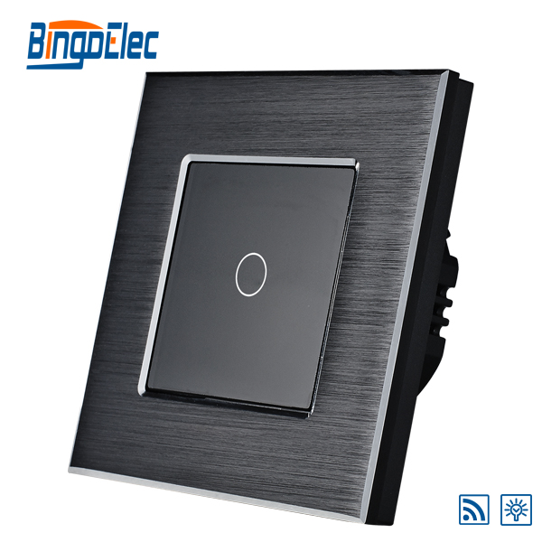 EU UK standard black metal 700W 1gang 1way touch dimmer remote switch 1gang 1way touch switch with remote function 433 92mhz silver aluminum and black glass panel remote switch eu uk hot sale