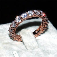 Brand 925 SILVER ROSE GOLD PAVE SETTING FULL AAAAA ZIRCON ETERNITY BAND ENGAGEMENT WEDDING Stone Rings