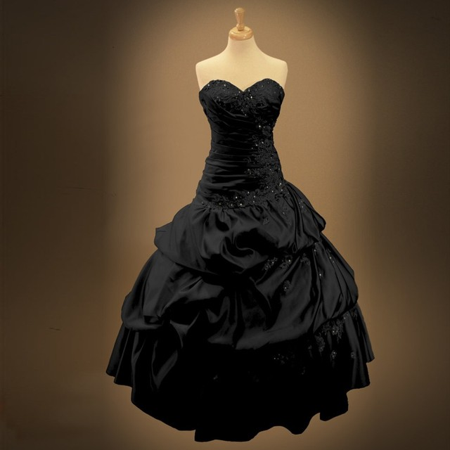 Black Wedding Dress With Detachable Train: Real Photo Vintage Gothic Black Wedding Dresses 2019