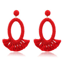 New Fashion Exaggerated Red Earrings Female Simple Bohemian Style Hand-Woven Tassel 2019 Womens Clothing Accessories