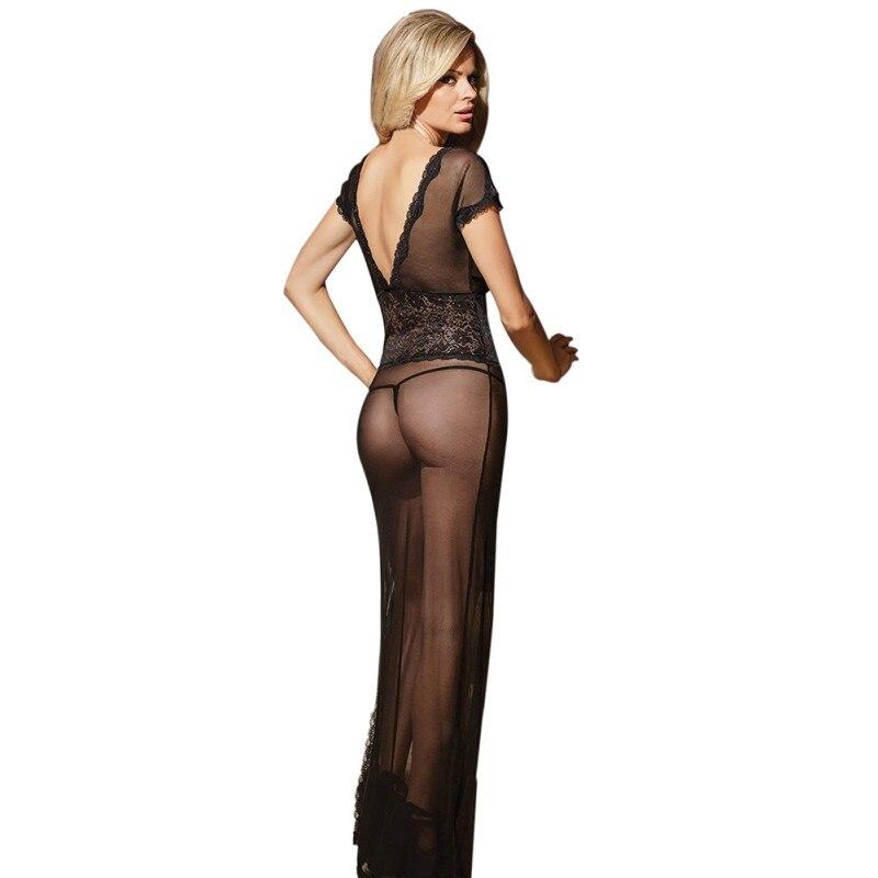 Sexy Long Dressing Night Gown Sheer Transparent Dress Evening Nightgown Nightie Sleepwear Lingerie Women Newest