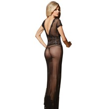 Sexy long dressing night gown sheer transparent dress evening nightgown nightie sleepwear lingerie women Newest