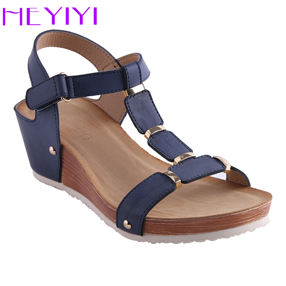 HEYIYI Shoes Women Sandals Platform Wedges Summer T-Strap Soft Insole Buckle Strap Large Size PU Leather Lightweight Flat Shoes phyanic 2017 gladiator sandals gold silver shoes woman summer platform wedges glitters creepers casual women shoes phy3323