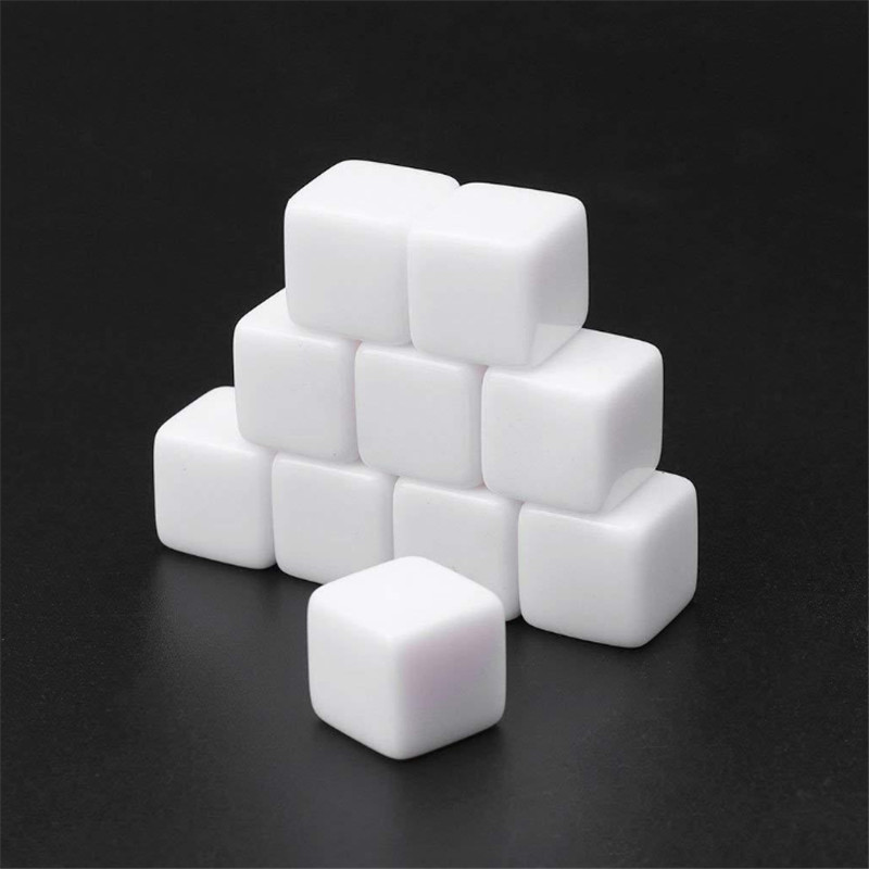 50Pcs <font><b>12mm</b></font> 14mm 16mm 18mm 20mm Glossy <font><b>D6</b></font> white blank <font><b>dice</b></font> Light Plate With Square Angle For Kid DIY Write Painting Graffiti image