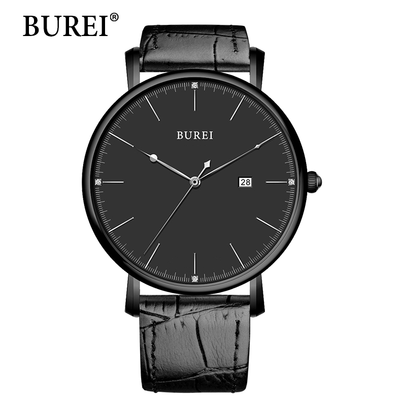 BUREI Men Watch Top Fashion Brand Male Real Leather Strap Large Dial Waterproof Clock Business Sapphire Lens Watches Hot Sale 2017 burei men watches top brand fashion clock genuine leather strap casual saat erkekler watch waterproof wristwatches hot sale