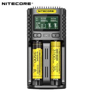 Image 1 - Nitecore UM2 USB ثنائي الفتحة شاحن QC الدوائر الذكية التأمين العالمي ليثيوم أيون AA 18650 14500 21700 شاحن بطارية