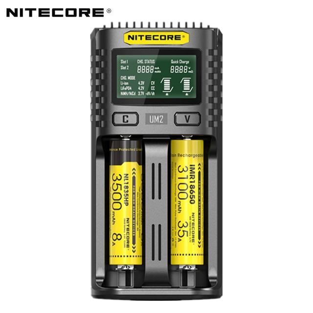 Nitecore UM2 USB ثنائي الفتحة شاحن QC الدوائر الذكية التأمين العالمي ليثيوم أيون AA 18650 14500 21700 شاحن بطارية