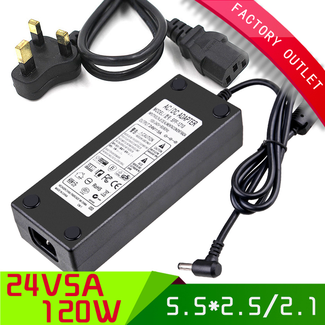 AC 110-240V to DC 24V 5a power adapter 5A Switching Power Supply 120W Power supply charger + AC uk plug cord