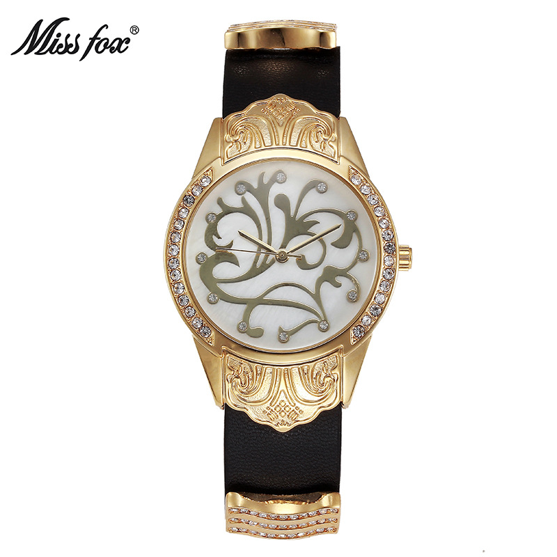 Miss fox watch alloy pattern gold quartz watch new top brand fashion luxury woman watch alloy inlaid belt ladies bracelet table