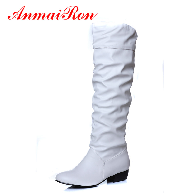 ANMAIRON Fashion Winter Autumn Pleated Mid-Calf Women Boots Low Heels Black White Brown Flats Half Boots Women Snow Shoes Woman mid calf women boots black white brown big size 34 43 new winter mid calf women boots black white brown for choice flats shoes